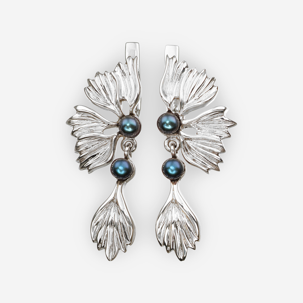 Floral silver dangle earrings with iridescent black pearls and latch back closures.