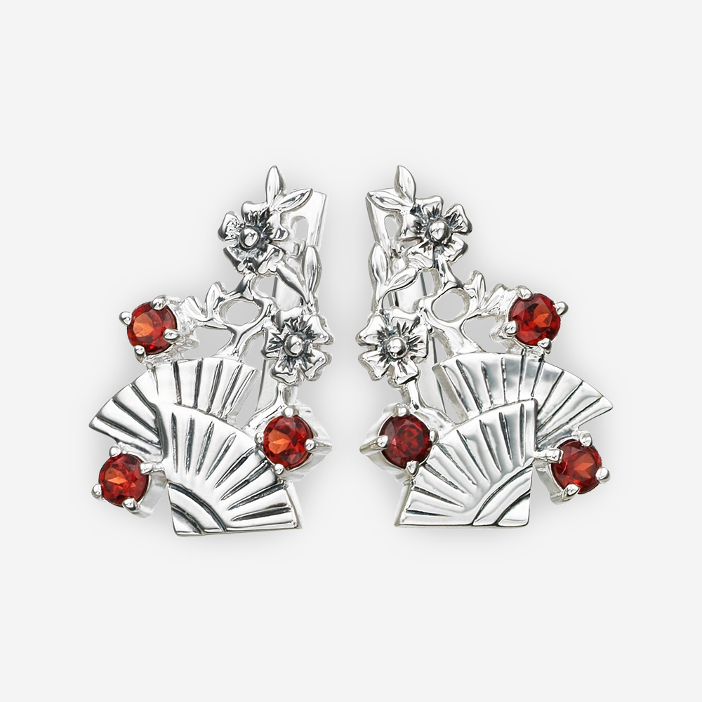 Floral sterling silver garnet earrings with fan and flower details.