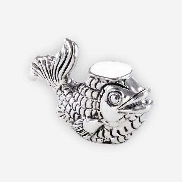 Fortune Fish Silver Mini Sculpture is crafted with electroforming techniques and dipped in silver .999
