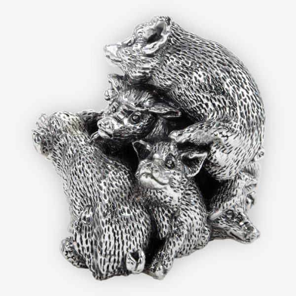 Fortune Piggies Silver Sculpture, made by electroforming process dipped in silver .999