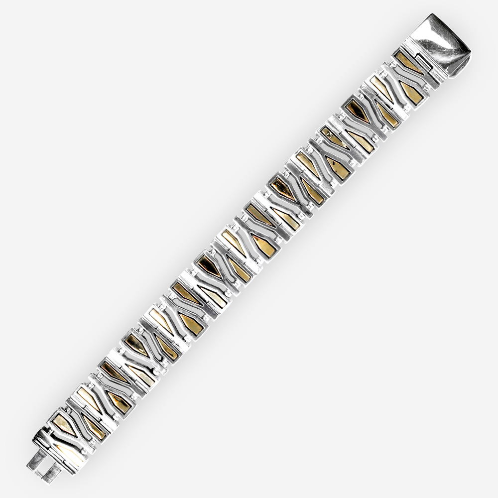Geometric fragments silver link bracelet crafted from 925 sterling silver and 14k gold accents.