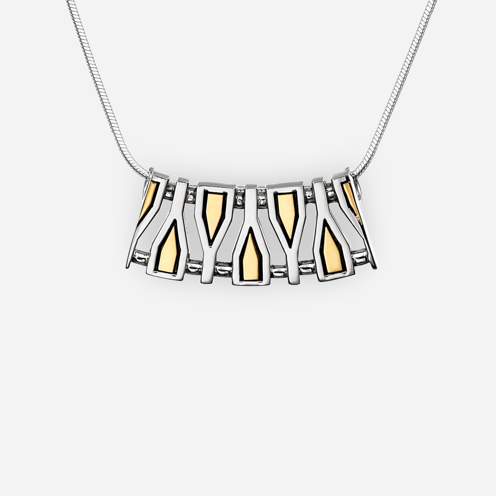Geometric fragments silver pendant crafted in 925 sterling silver with 14k gold accents.