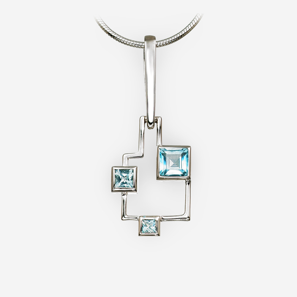 Geometric silver blue topaz pendant crafted from 925 sterling silver.