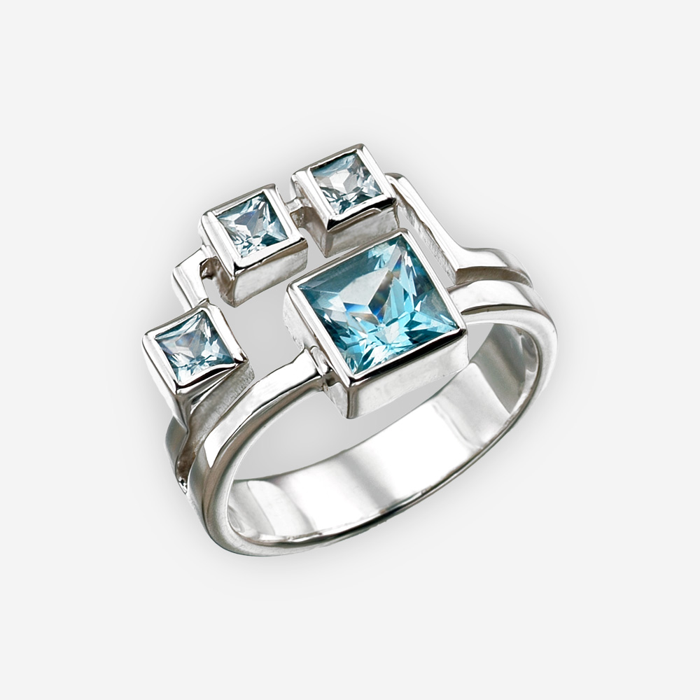 square sterling ring heart gold detail rings blue konstantino and topaz cut silver london
