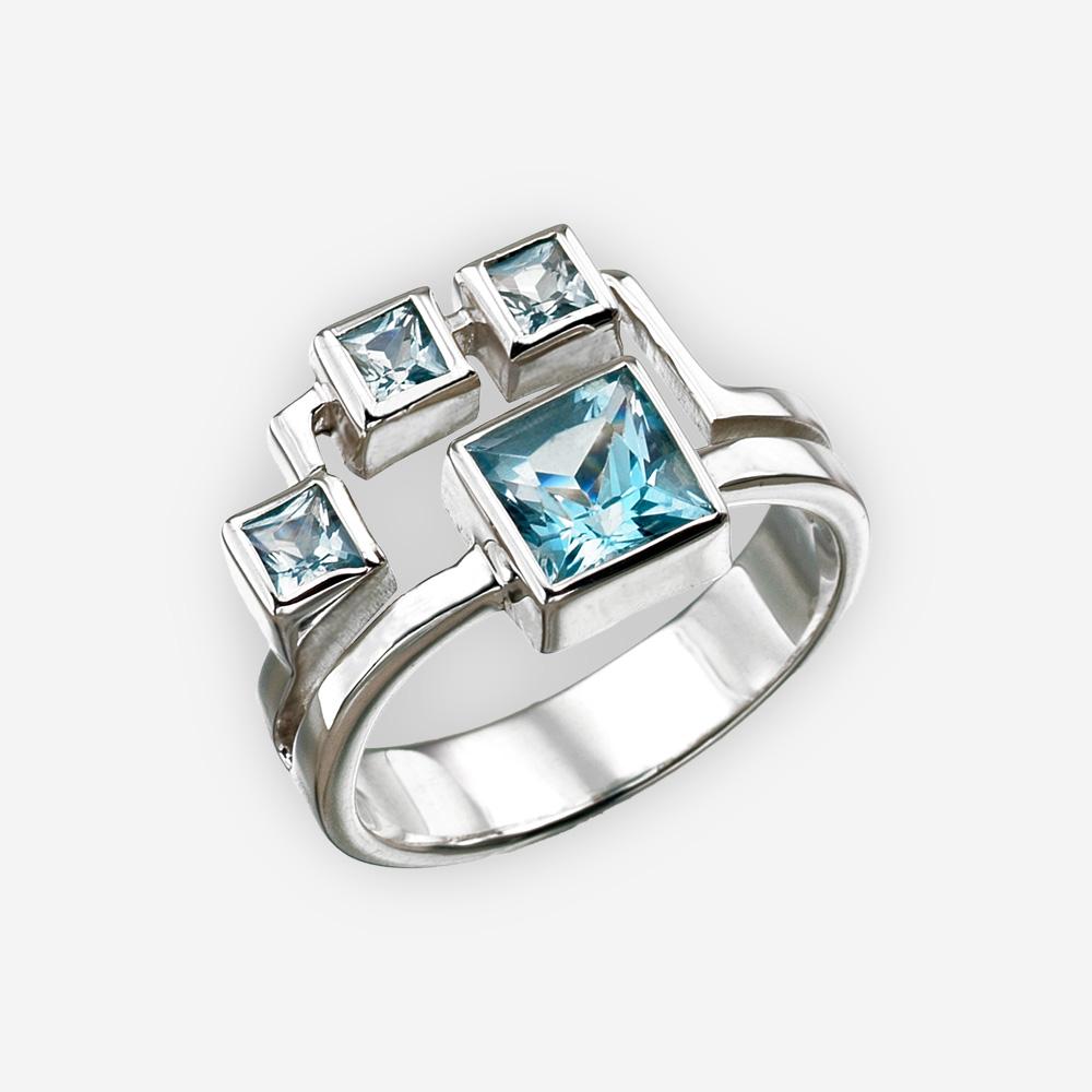 Anillo geométrico con topacio azul hecho a mano en plata fina 925.