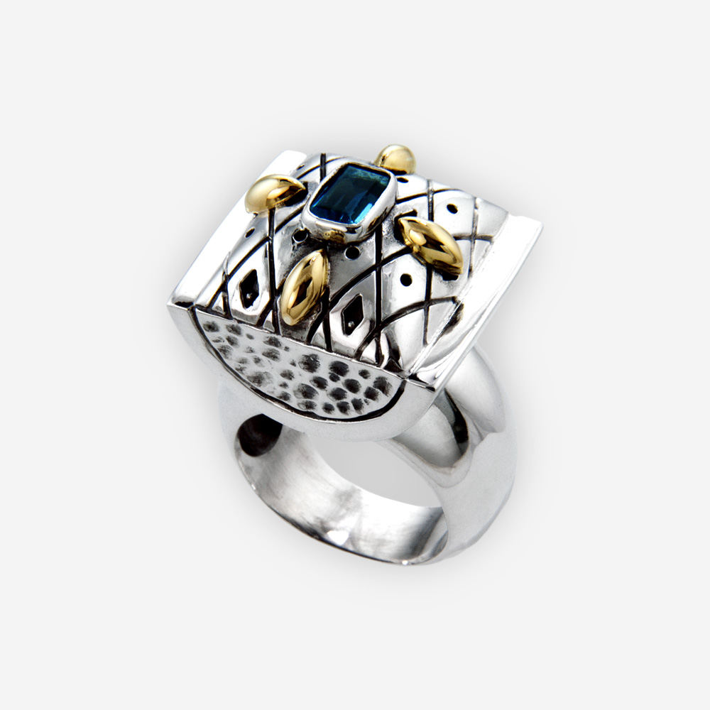 ad9ff8199522 Anillo de plata con piedras preciosas - Zanfeld Jewellery