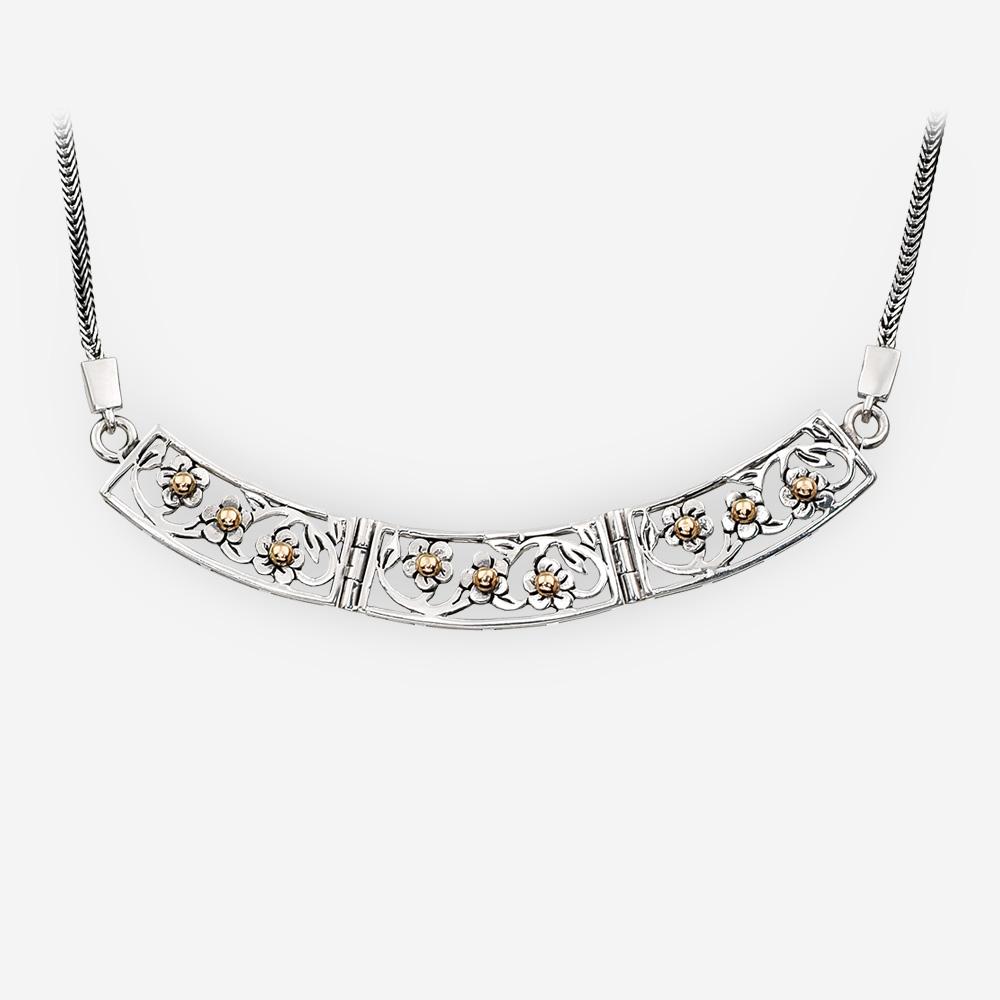 Collar de plata a cielo abierto de oro elaborado a partir de oro de 14k y plata .925.