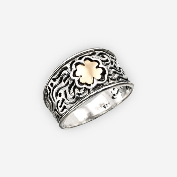 Gold four leaf clover silver ring crafted from 925 sterling silver and 14k gold.