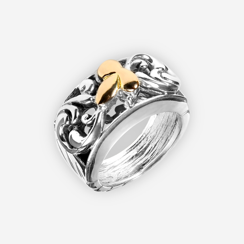 Gold sculpted leaf silver ring crafted in 925 sterling silver and 14k gold.
