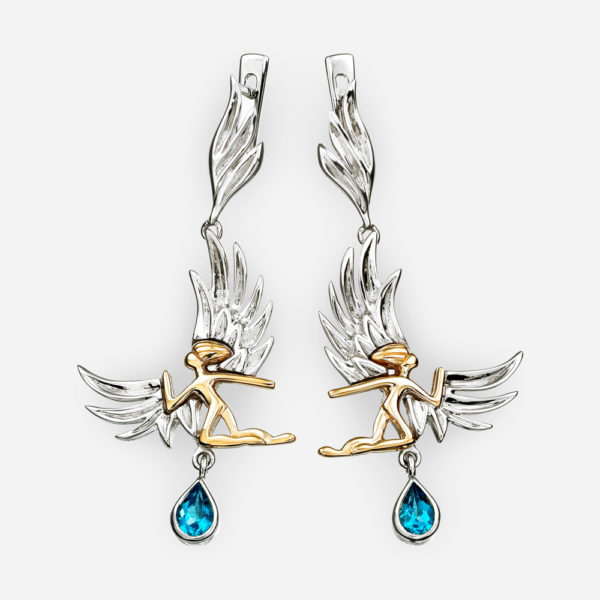 Golden angel silver earrings with blue topaz gem drops and 925 sterling / 14k gold details.