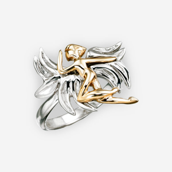 Golden angel sterling silver ring featuring a 14k gold angel.