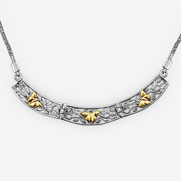 Golden butterflies silver necklace crafted in sterling silver and 14k gold.