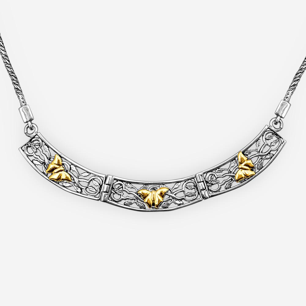 Collar de plata con mariposas doradas hecho a mano en plata fina y oro 14k.