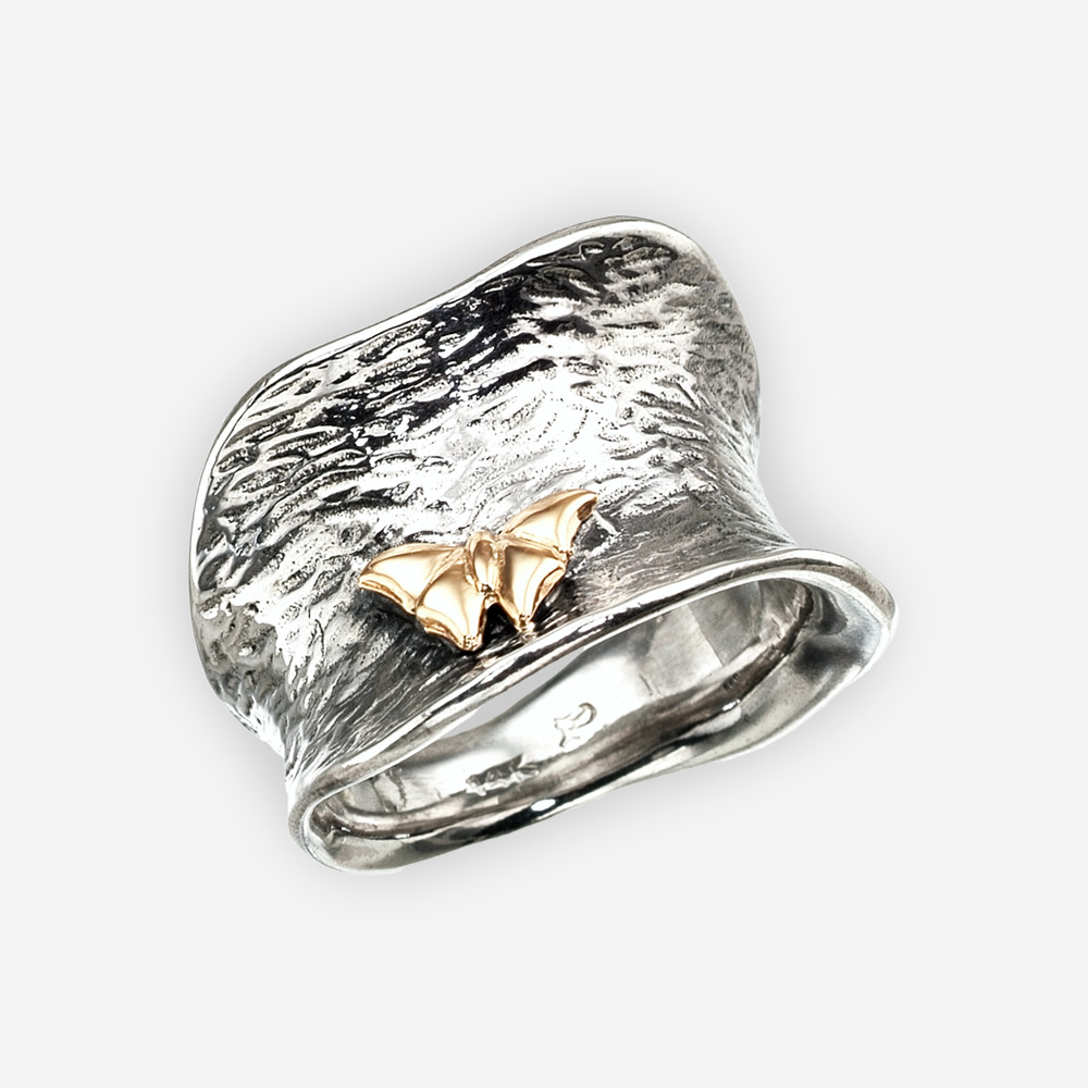 Golden butterfly concave silver ring crafted from 925 sterling silver and 14k gold.