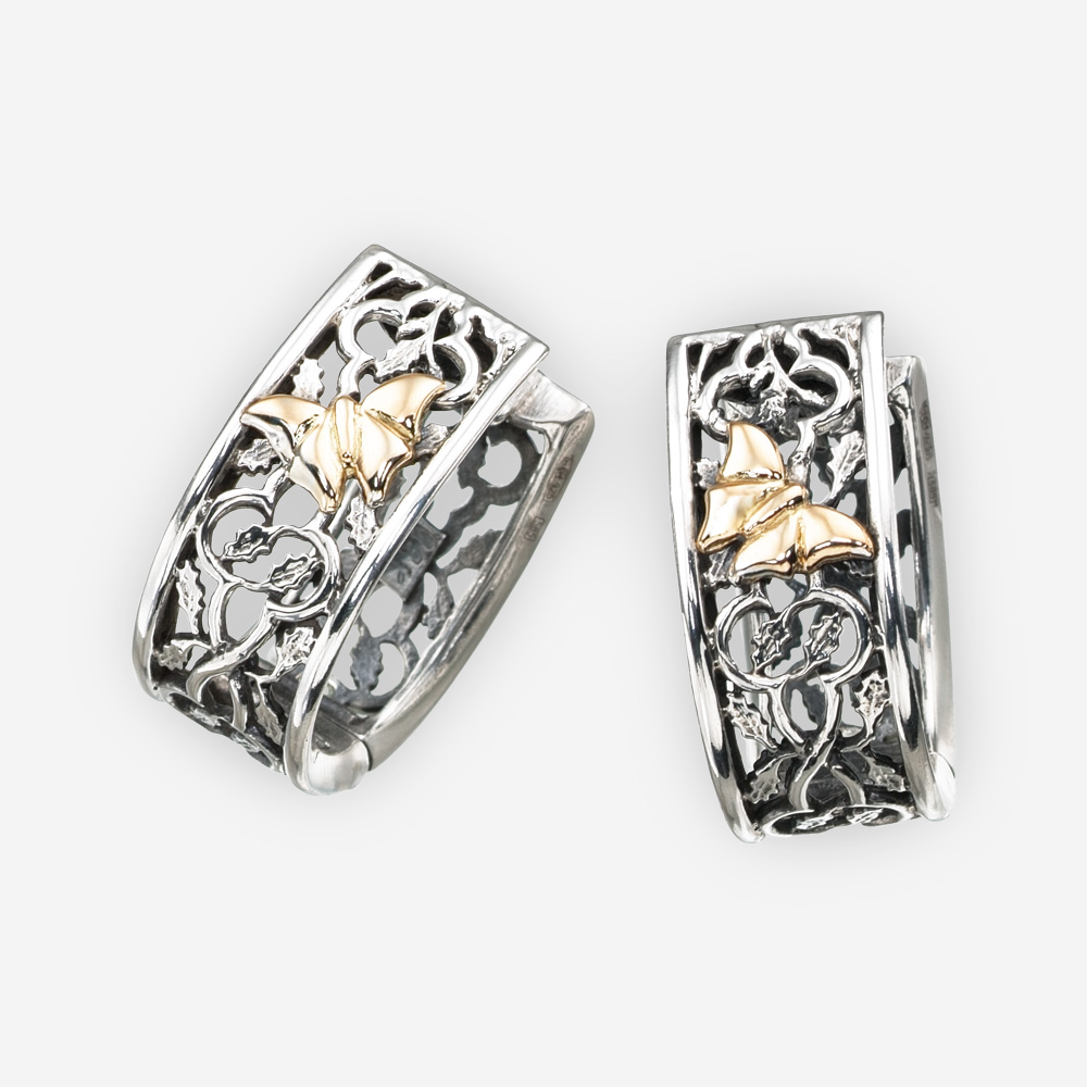 Golden butterfly silver openwork earrings made from 925 sterling silver and 14k gold.