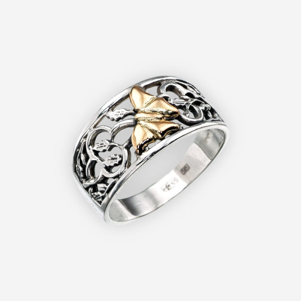 Golden butterfly silver openwork ring crafted from 925 sterling silver and 14k gold.