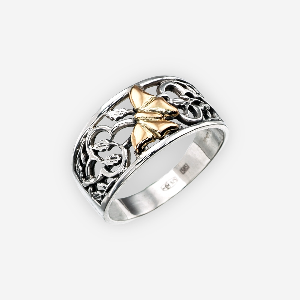 Anillo de plata con una mariposa dorada hecho a mano de plata fina .925 y oro de 14k.
