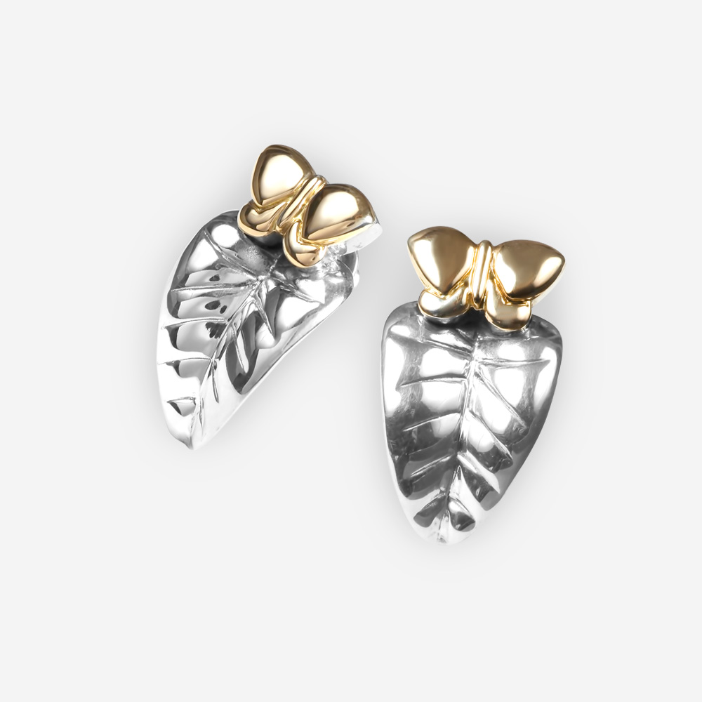 Golden butterfly sterling silver leaf post earrings crafted from 925 sterling silver and 14k gold with post backings.