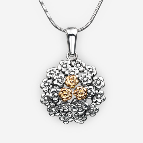 Golden flower silver pendant with three 14k gold embossed flowers.