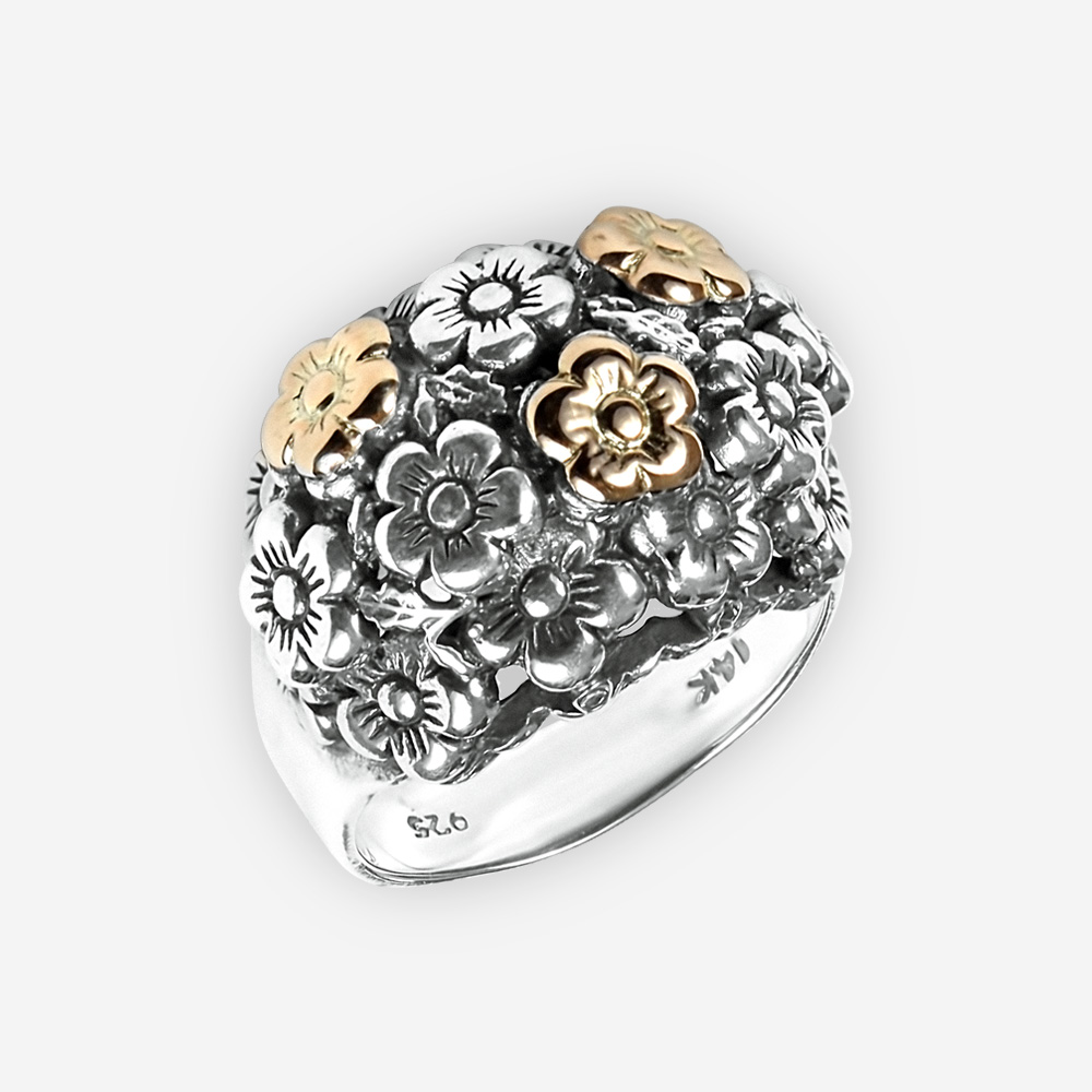 Golden flowers silver statement ring crafted in 925 sterling silver and 14k gold.