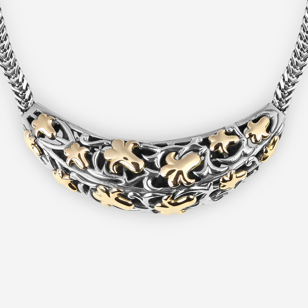 Sterling Silver Intricate Necklace with Fig Leaves Cast in 14k gold and Wide Foxtail Chain.
