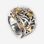 Golden lilies sterling silver ring with 14k gold accent details.