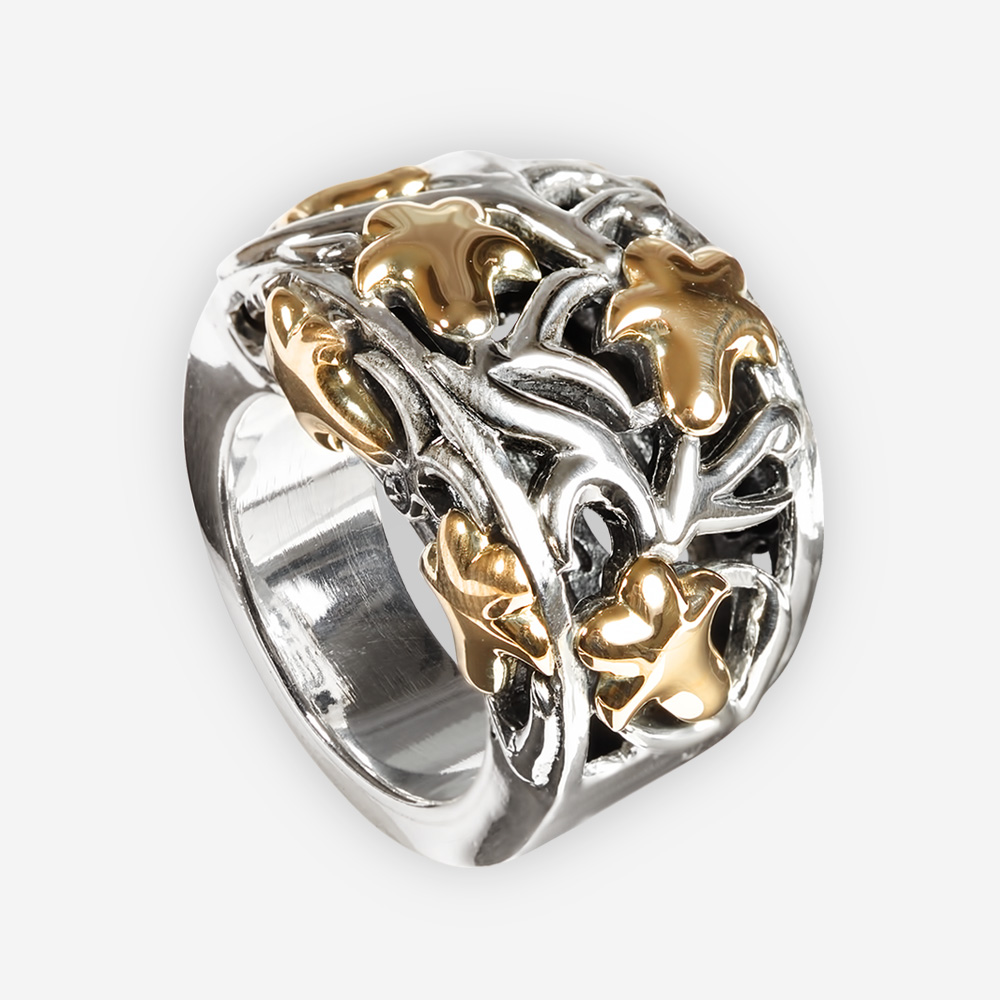 Sterling Silver Reticulated Ring with Fig Leaves in 14k gold.