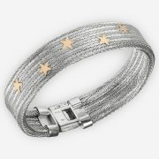 Handwoven silver herringbone weave bracelet crafted from 925 sterling silver with 14k gold stars.