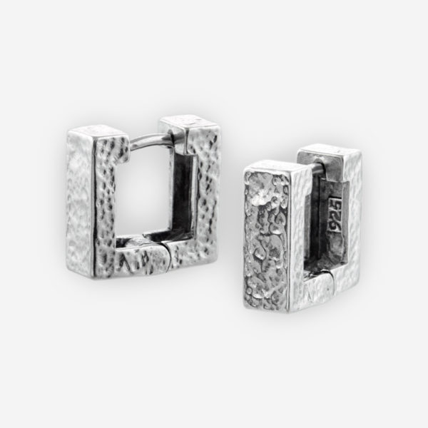 Huggie Earrings Casting in Texturized Sterling Silver