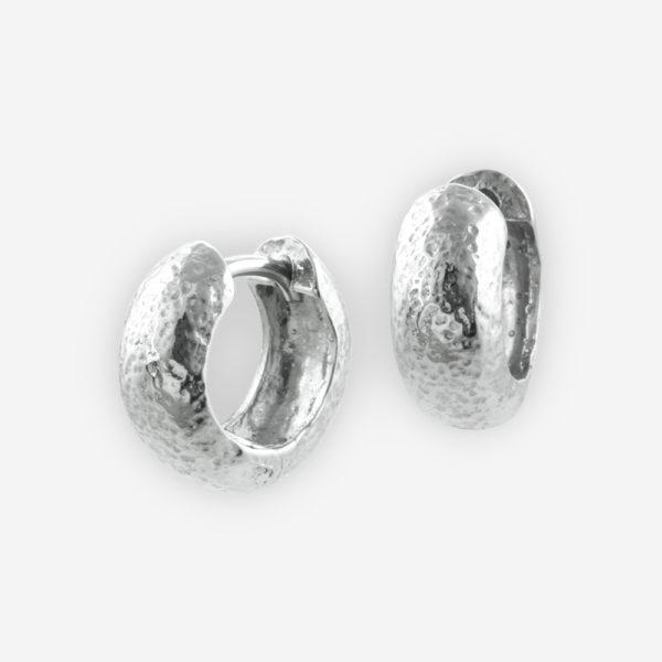 Huggie Hoop Earrings Casting in Hammered Sterling Silver