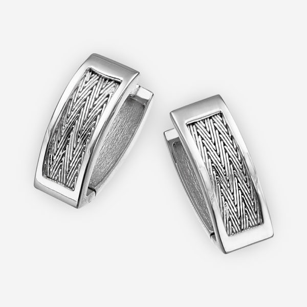 Handcrafted silver herringbone earrings crafted in 925 sterling silver with handwoven herringbone chain.