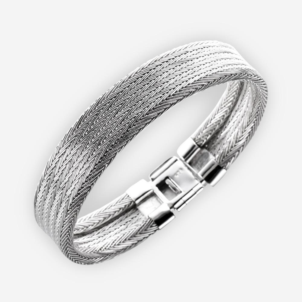 Herringbone pattern sterling silver cuff bracelet.