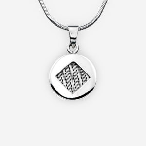 Handwoven silver herringbone pendant with high polished finish.