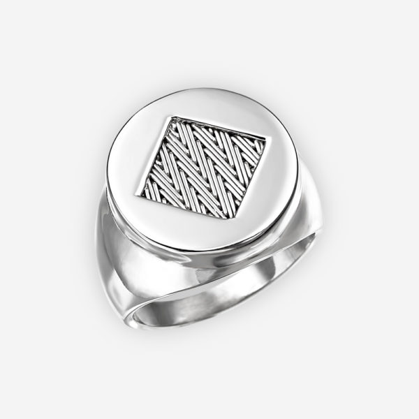 Handwoven silver herringbone ring crafted in 925 sterling silver.