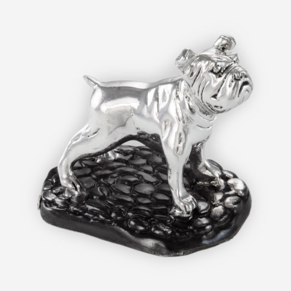 Bull Dog Small Silver Sculpture is crafted with electroforming techniques and dipped in silver .999