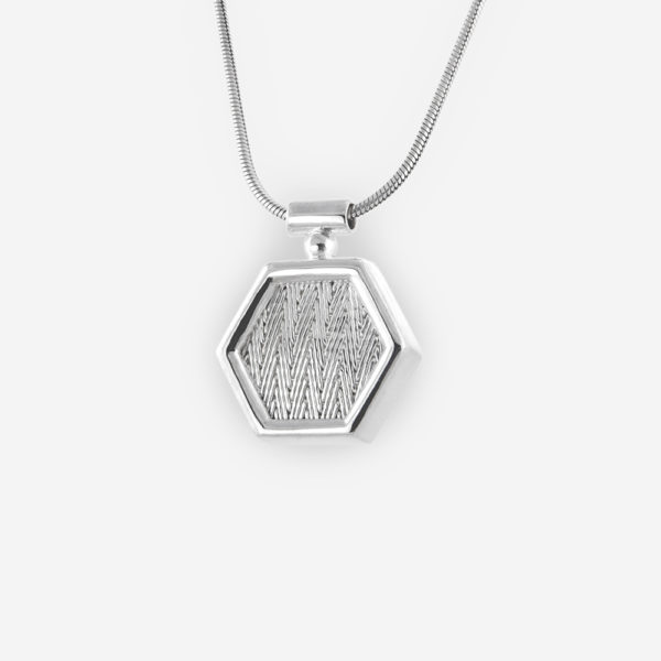 Hexagonal Sterling Silver Hand Woven Necklace with Classic Delicate Chain.