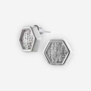 Hexagonal Hand Woven Stud Earrings crafted in Sterling Silver.