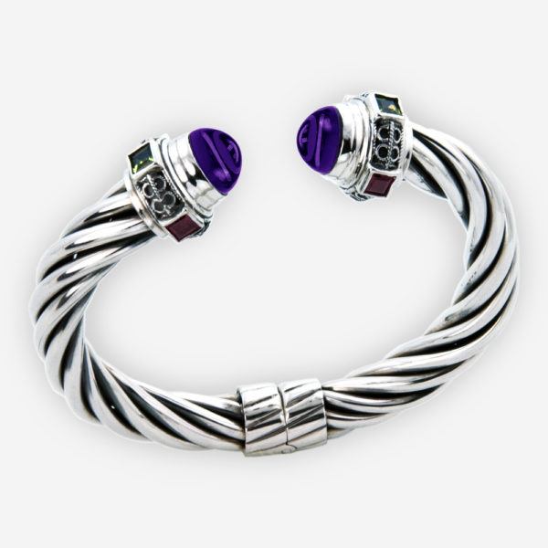 Hinged twisted cable bracelet crafted with 925 sterling silver and set with amethyst gemstones