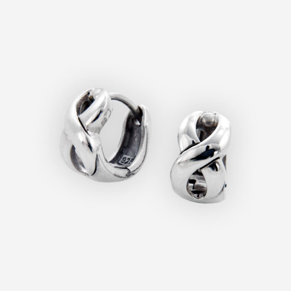 Intertwining silver huggie hoops crafted from 925 sterling silver with huggie closures.
