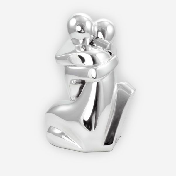 The Kiss Abstract Silver Sculpture, crafted with electroforming techniques and dipped in silver .999