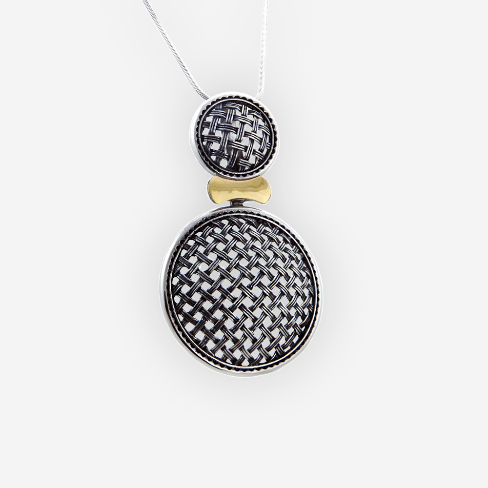 Large two-tone silver lattice pendant features an openwork lattice design and is crafted in 925 sterling silver with a 14k gold detail.