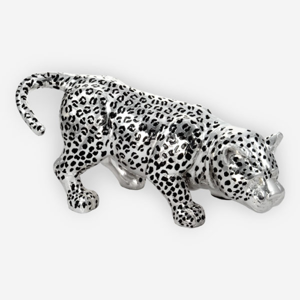 Leopard Sculpture made by electroforming process dipped in silver .999