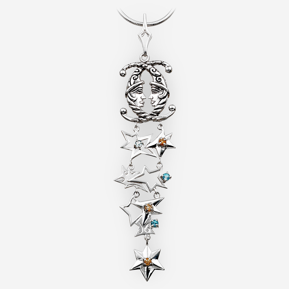 Long silver lunar pendant crafted in 925 sterling silver with topaz and citrine.