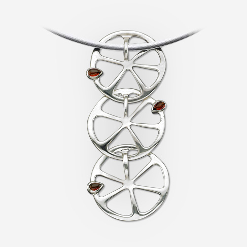 Long silver oranges pendant with garnet seeds crafted from 925 sterling silver.
