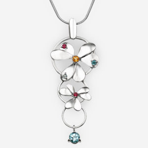 Long sterling silver flower pendant with citrine, garnet, and blue topaz gemstones.