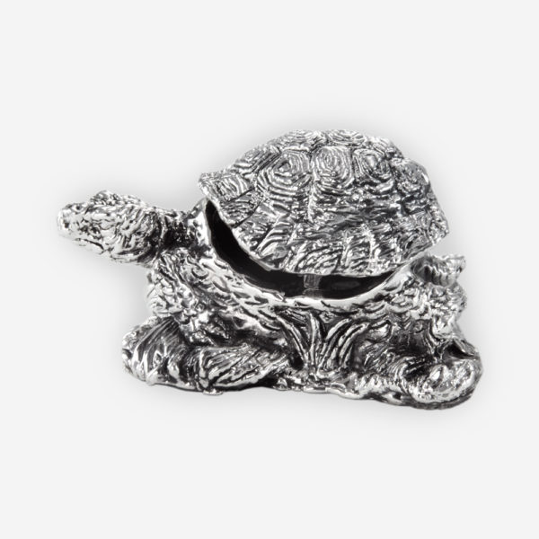 Turtle Silver Jewelry Box, is crafted with electroforming techniques and dipped in silver .999