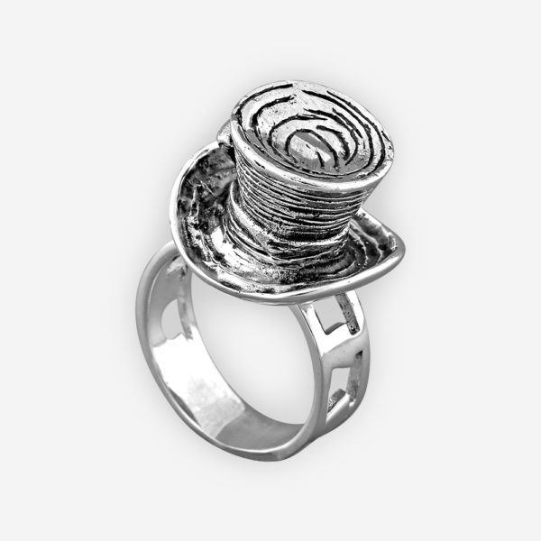 Mad Hatter sterling silver ring inspired by Alice in Wonderland,