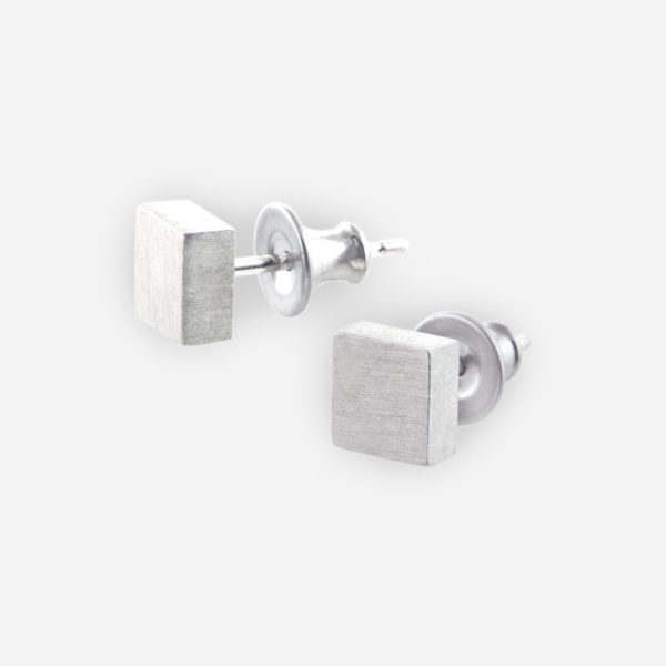 Geo Square Stud Earrings casted in brushed Sterling Silver