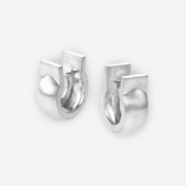 Huggie Earrings with Horseshoe Style Casted in Matte Sterling Silver.