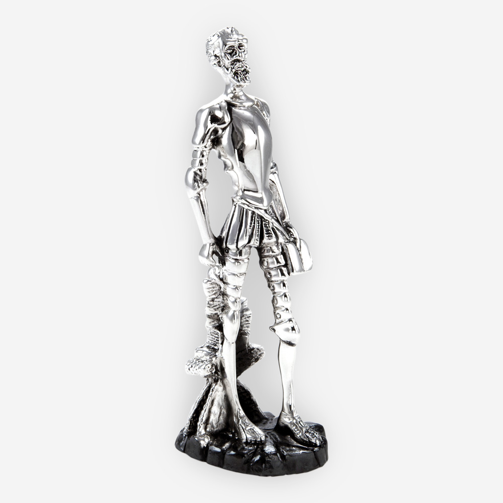 Medieval man silver sculpture is crafted with electroforming techniques and dipped in sterling silver.